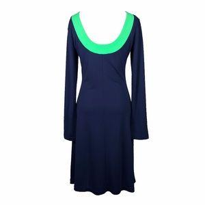 Isaac Mizrahi Dresses - Isaac Mizrahi Navy and Green Long Sleeve Mod Dress